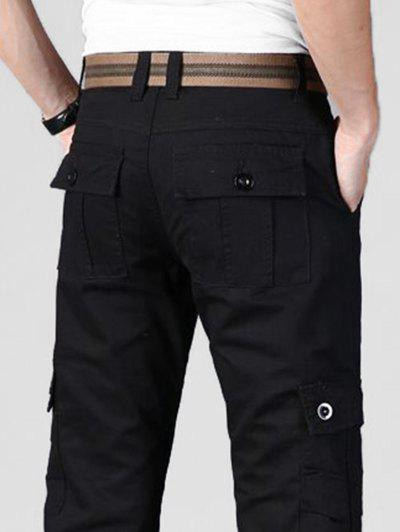 Plain Multi Flap Pockets Cargo Straight Pants