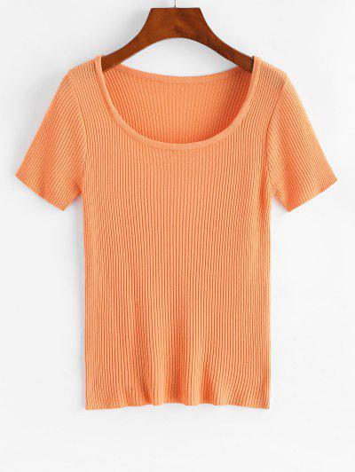 Ribbed Short Sleeve Slim Knit Tee - Tiger Orange