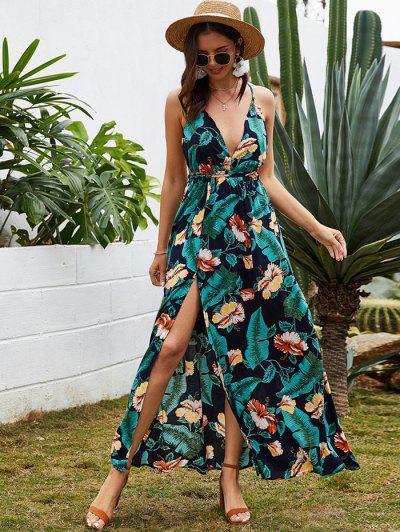 Robe LongueCroiséeFendue Fleur Tropicale Feuille Sans Dos - Cadetblue M