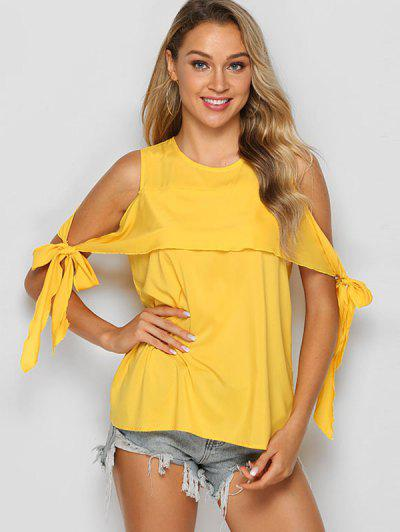 Tie Sleeve Solid Cold Shoulder Blouse - Sun Yellow M
