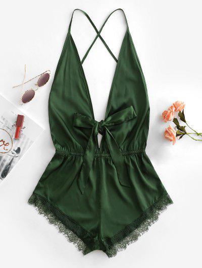 Lace Trim Tie Crisscross Teddy - Green S