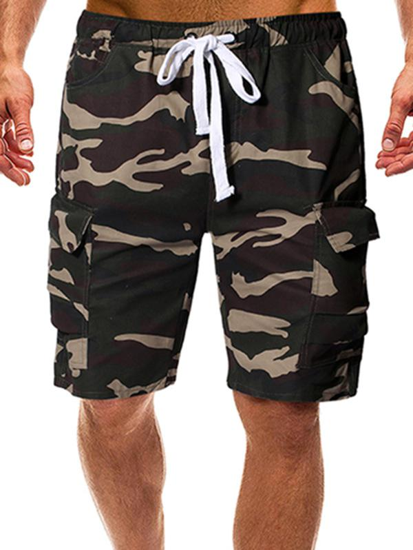 Camouflage Print Multi-pocket Drawstring Cargo Shorts