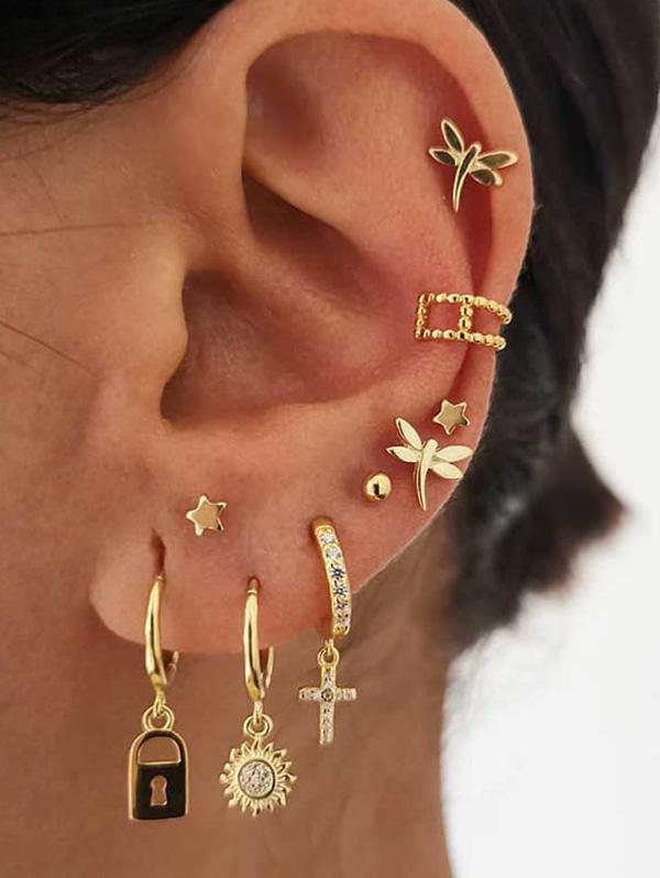 9Pcs Star Lock Cross Earrings Set thumbnail