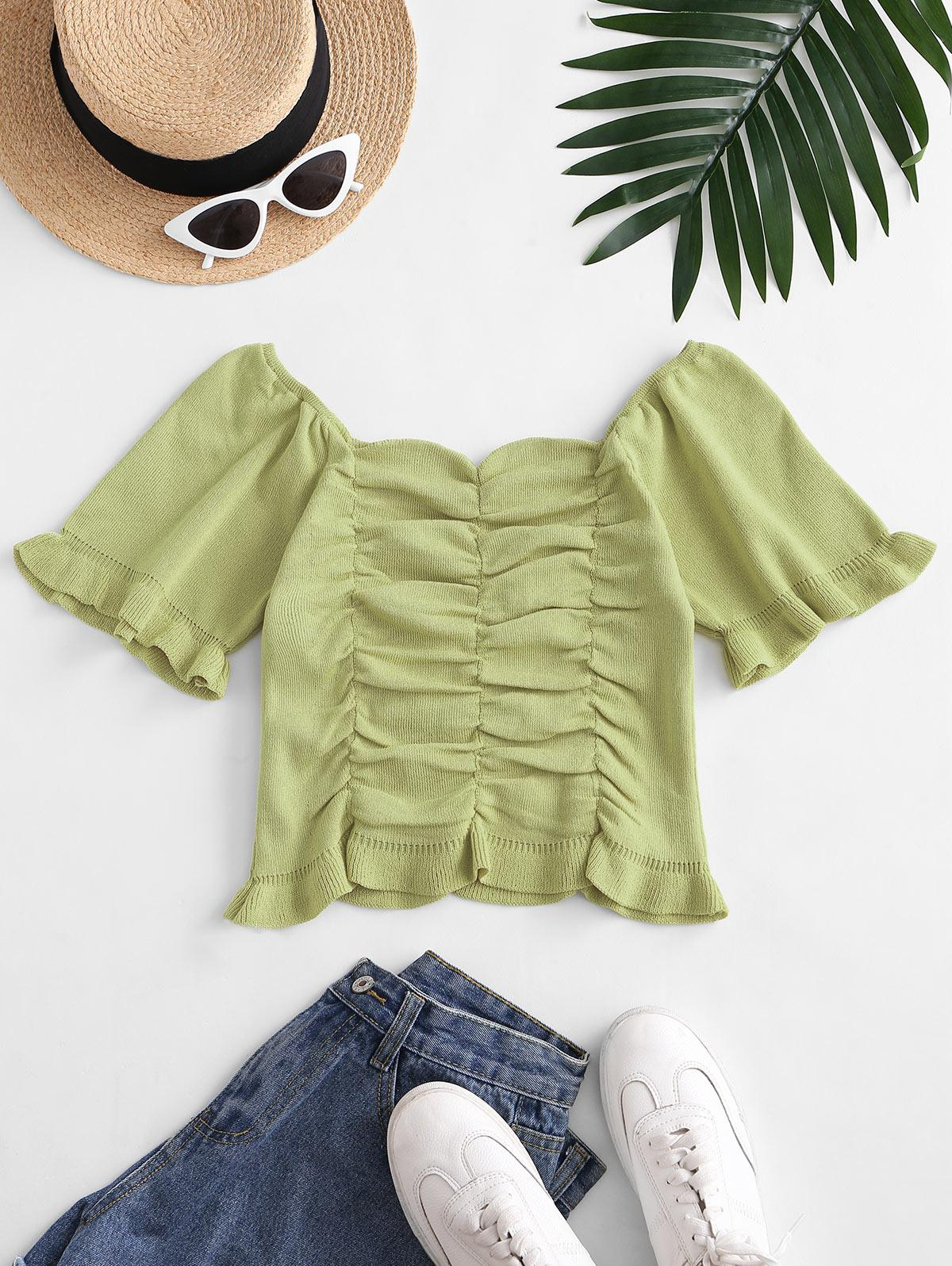 Ruched Puff Sleeve Knit Sweetheart Neck Tee