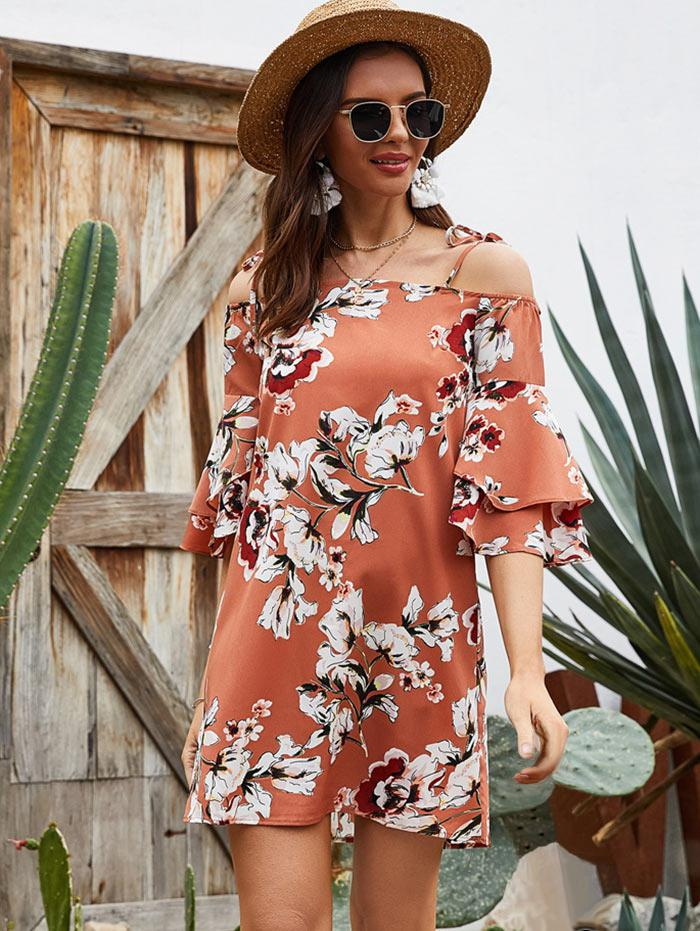 Layered Sleeve Floral Cold Shoulder Tunic Dress