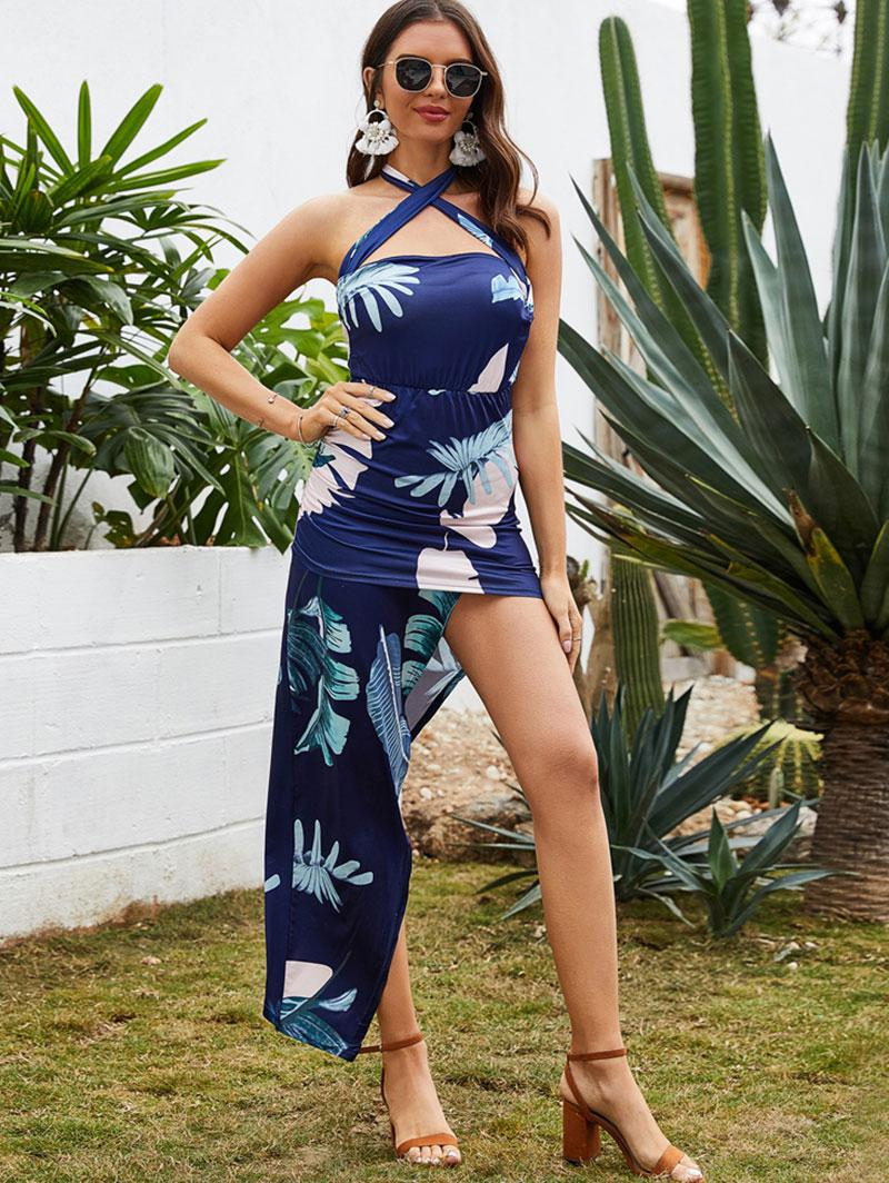 Asymmetrical Leaf Print Cross Backless Bodycon Dress