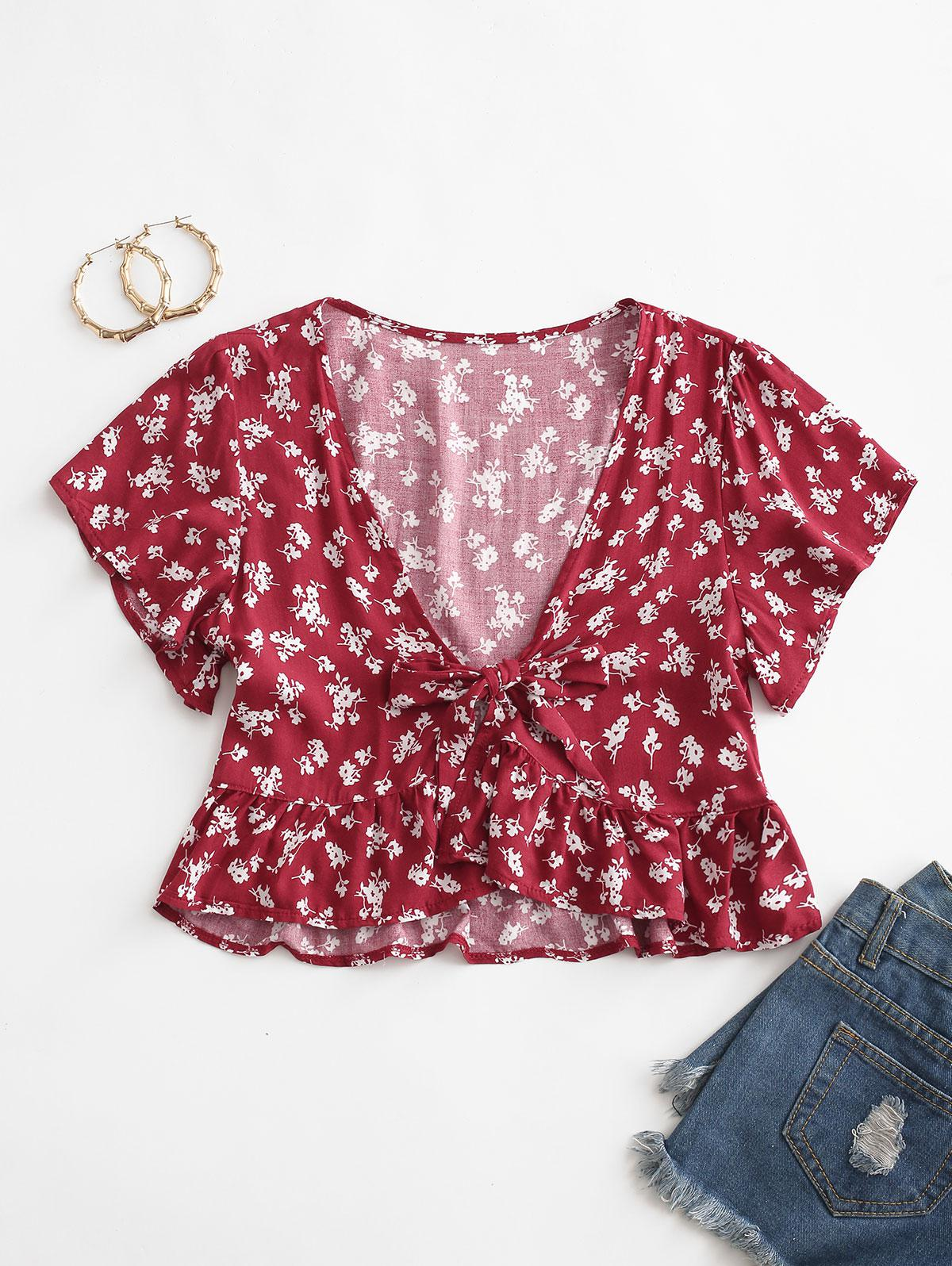 Ditsy Print Tie Front Crop Blouse
