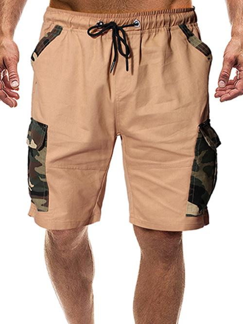 Camouflage Print Flap Pockets Drawstring Shorts