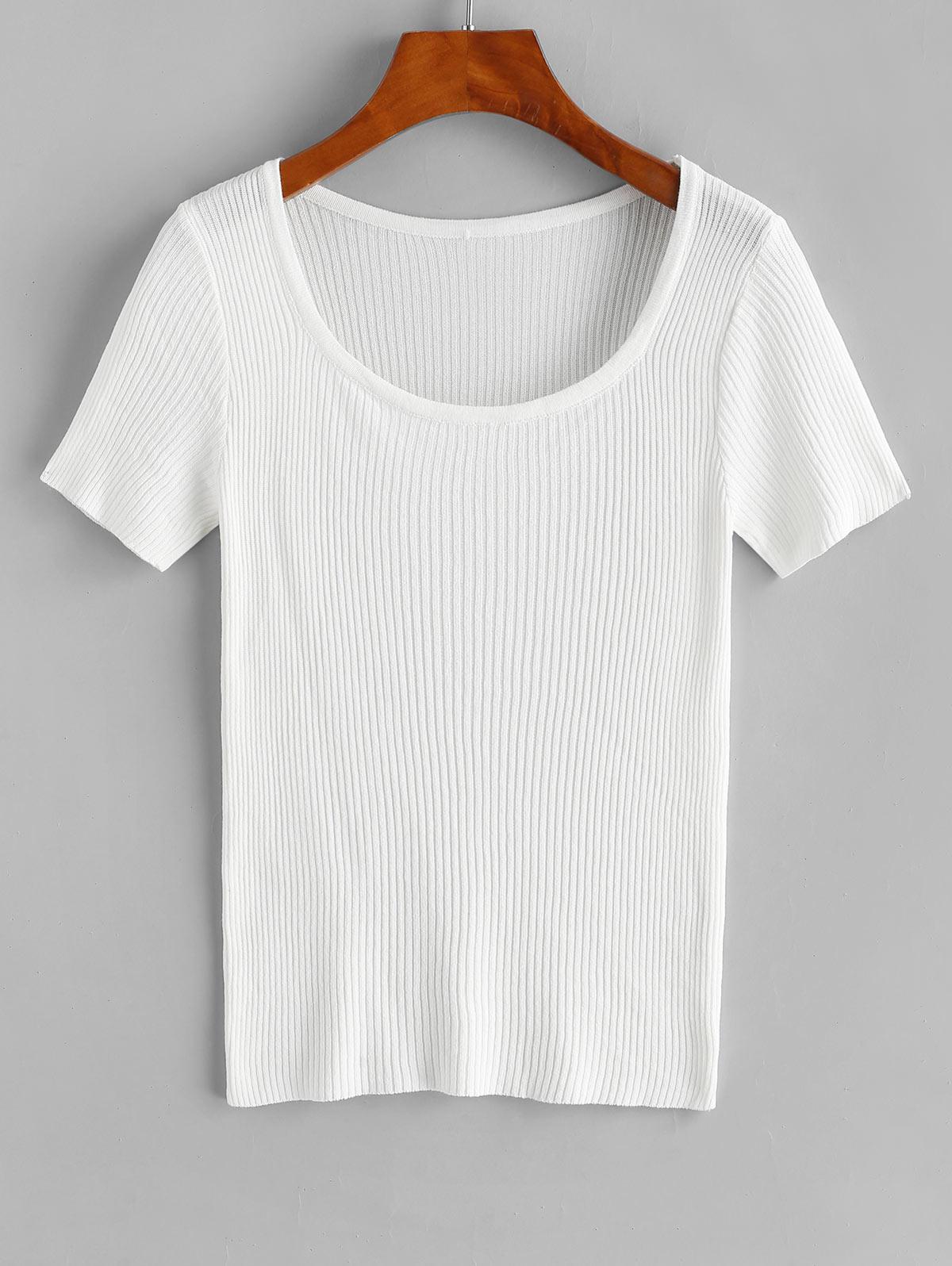 Ribbed Short Sleeve Slim Knit Tee