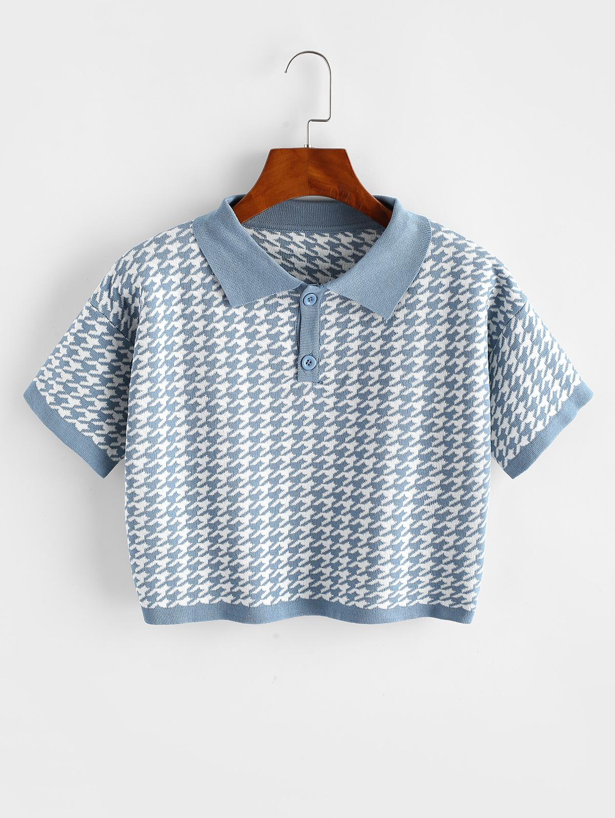 Two Buttoned Houndstooth Knitted Tee