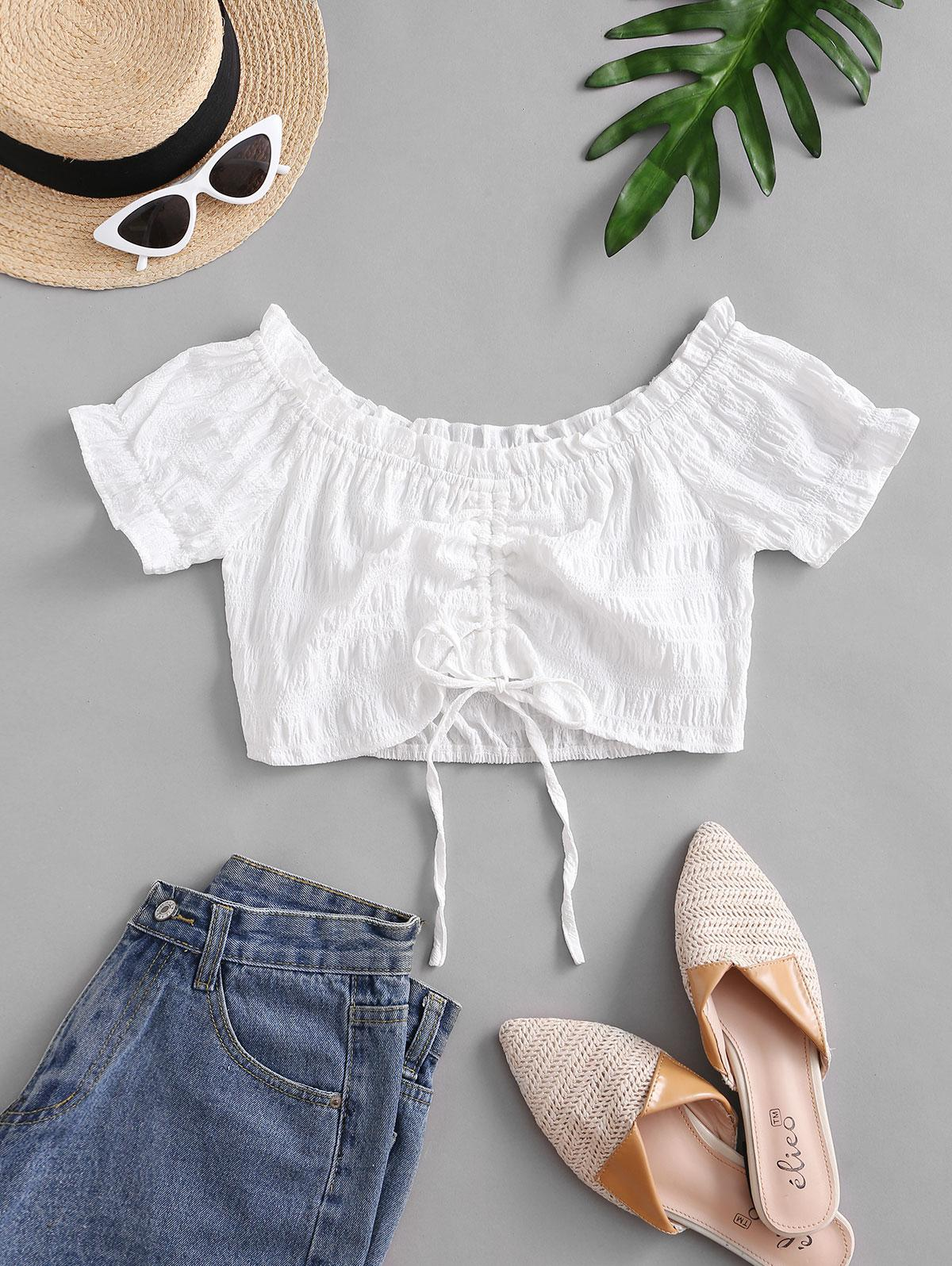 Crinkle Off Shoulder Cinched Front Blouse thumbnail