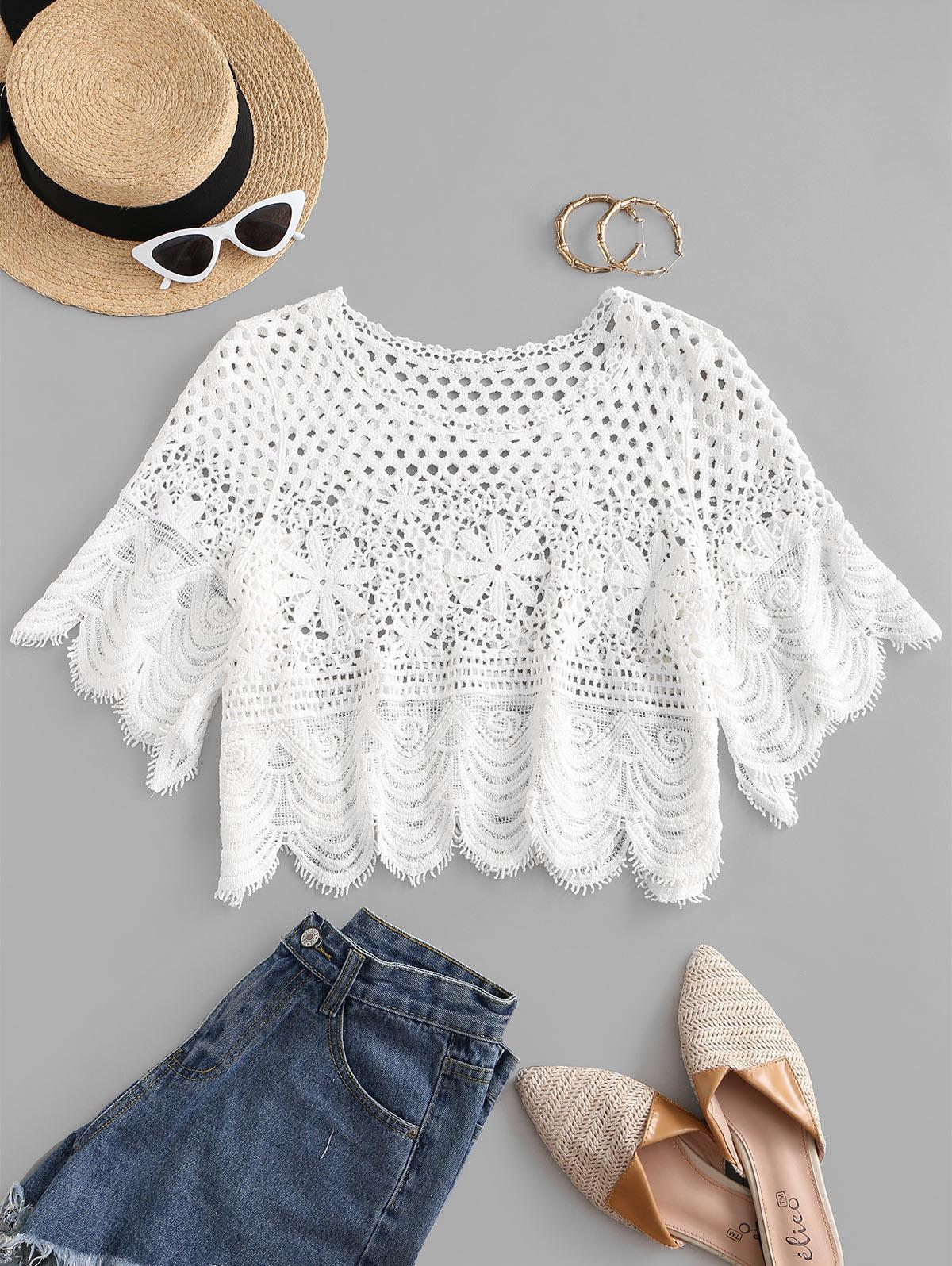 Crochet Scalloped Hem Cover Up Top