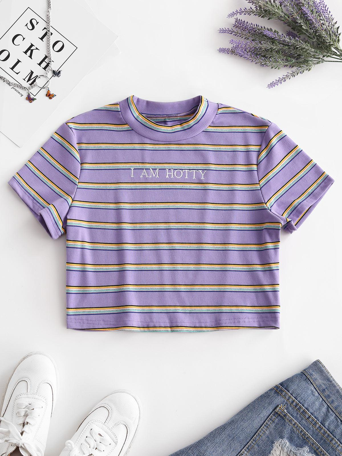 Ribbed I AM HOTTY Embroidered Glitter Stripes Tee