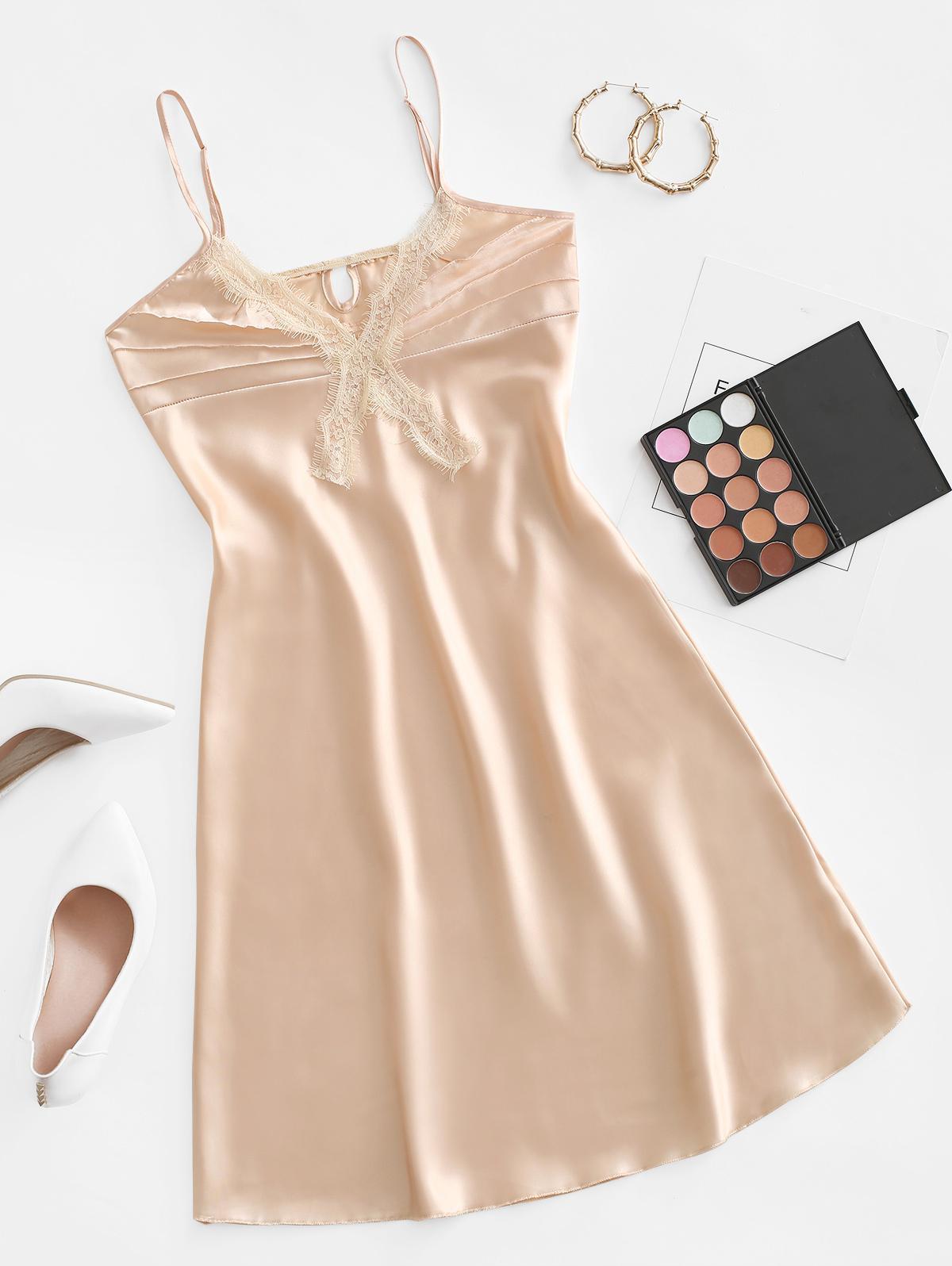 Eyelash Lace Satin Night Dress