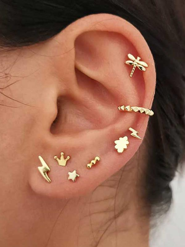 Crown Lightning Stud And Ear Cuff Earring Set