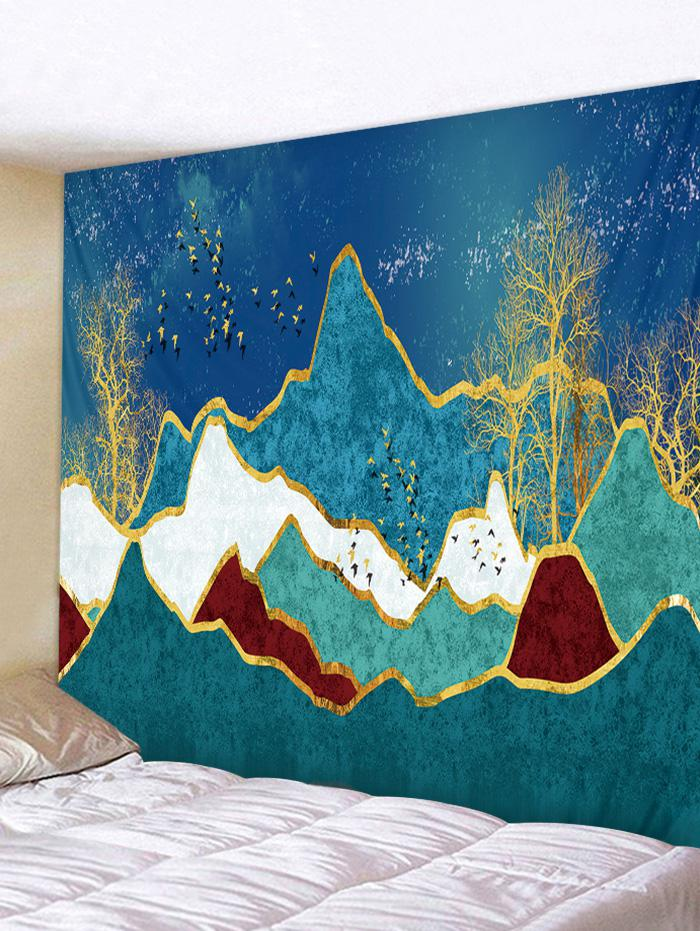Mountain Tree Birds Printed Wall Tapestry