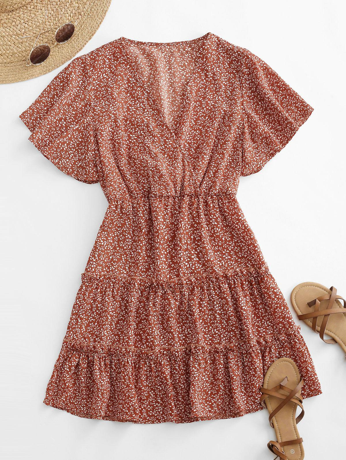 Ditsy Print Tiered Butterfly Sleeve Surplice Dress
