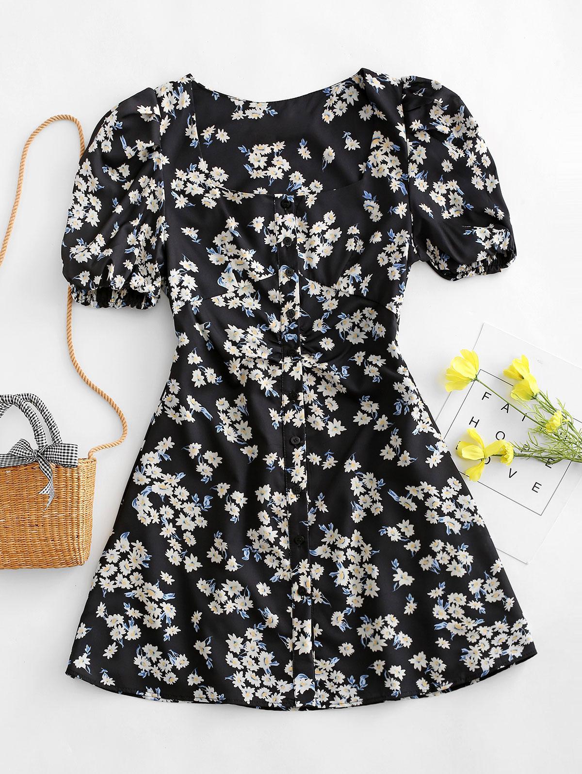 Floral Print Puff Sleeve Button Through Dress