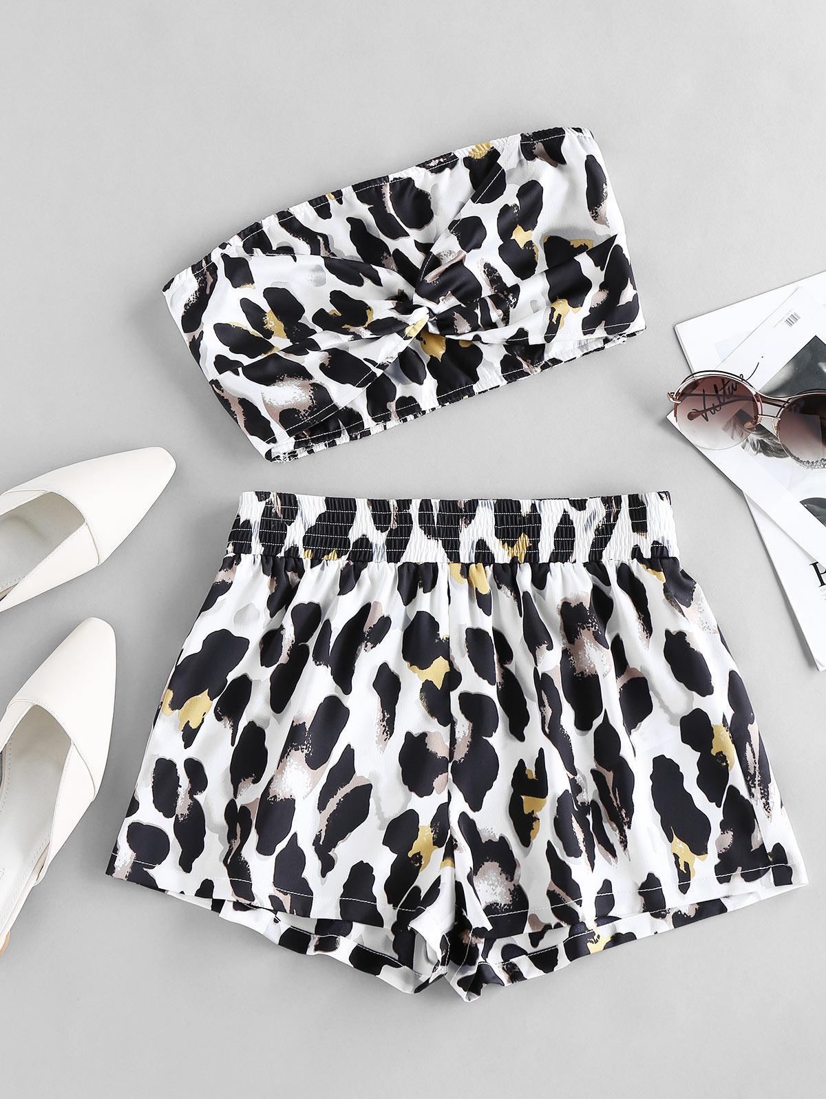 ZAFUL Leopard Smocked Twisted Shorts Set