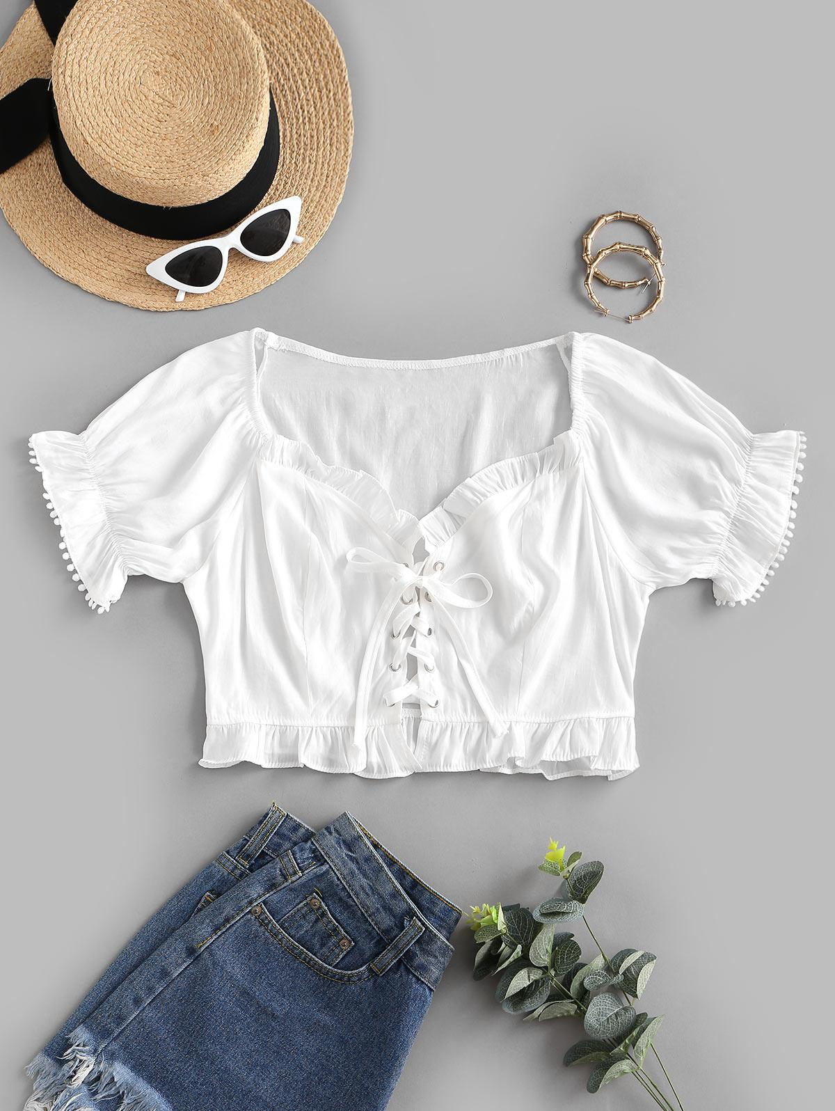 Picot Trim Frilled Lace Up Blouse