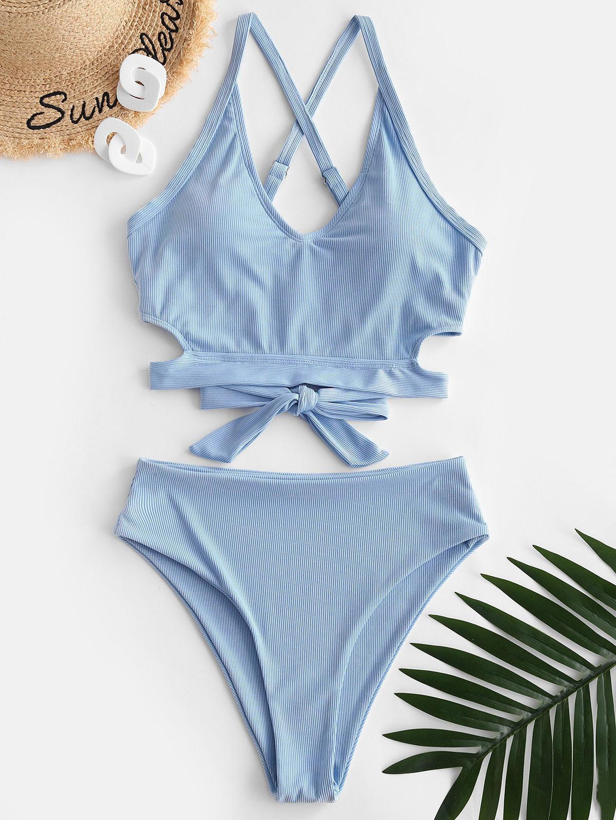ZAFUL Ribbed Criss Cross High Waisted Tankini Swimwear, Light blue