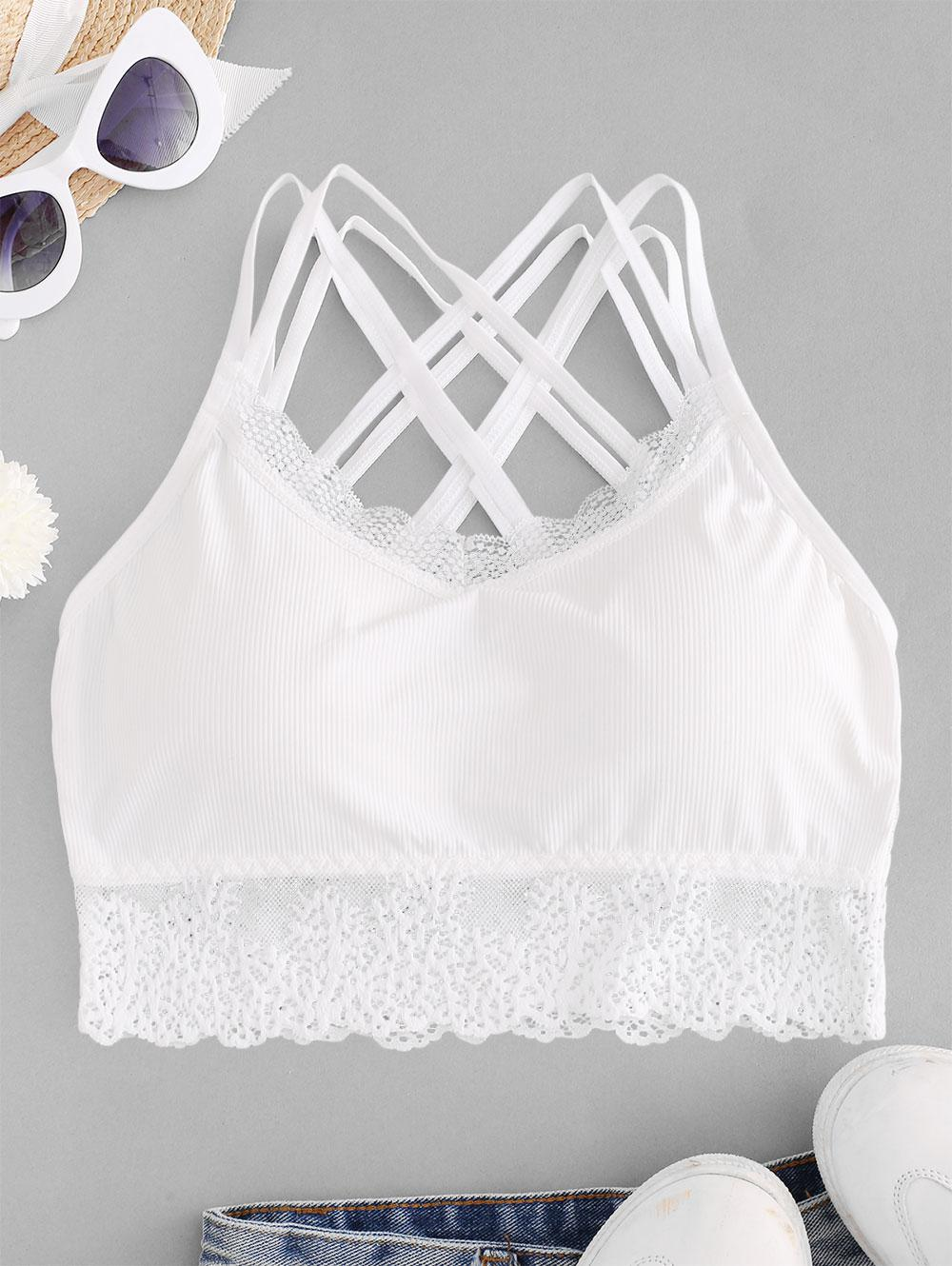 Lace Panel Padded Cross Strappy Bra