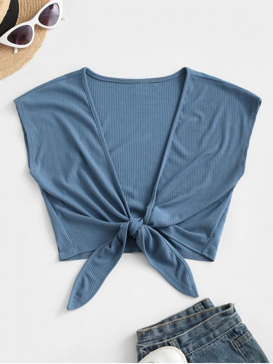 shops ZAFUL Tie Front Ribbed Cropped Top - BLUE L
