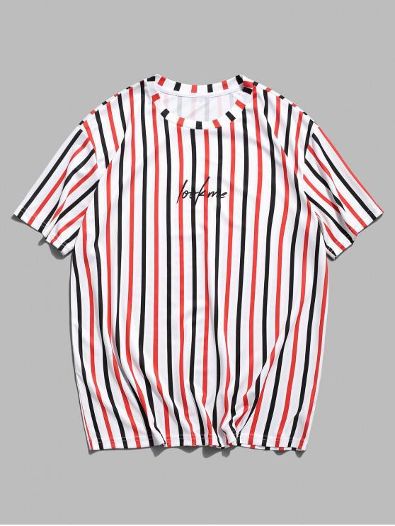 Camiseta Rayada y Estampado Letras - Blanco M