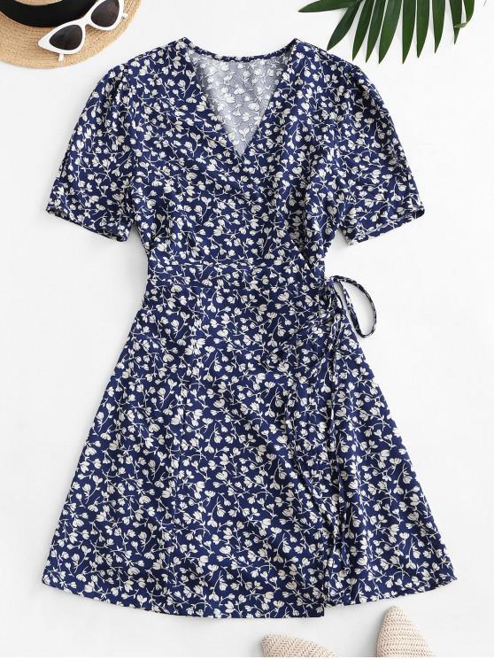 fashion Tiny Floral Wrap Mini Dress - BLUE L