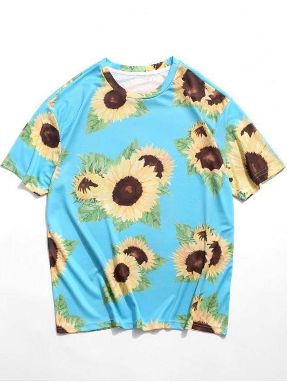 Lässiges T-Shirt mit Kurzen Ärmeln und Sonnenblumenmuster - Hellblau 3XL