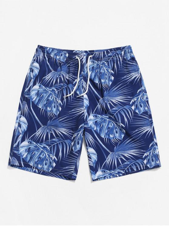 Leaf Printing Drawstring Shorts - طالبا الأزرق S
