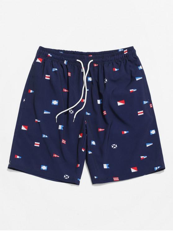 Geometric Printed Drawstring Casual Shorts - طالبا الأزرق XS
