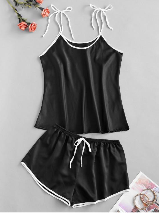 trendy Contrast Trim Tie Shoulder Bowknot Pajama Shorts Set - BLACK ONE SIZE
