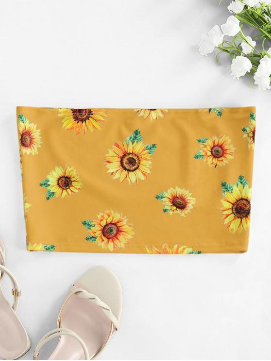 unique ZAFUL  Strapless Sunflower Print Crop Top - ORANGE GOLD XL