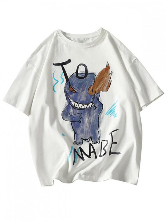 Cartoon Fire Evil Letter Print Basic T Shirt - أبيض M