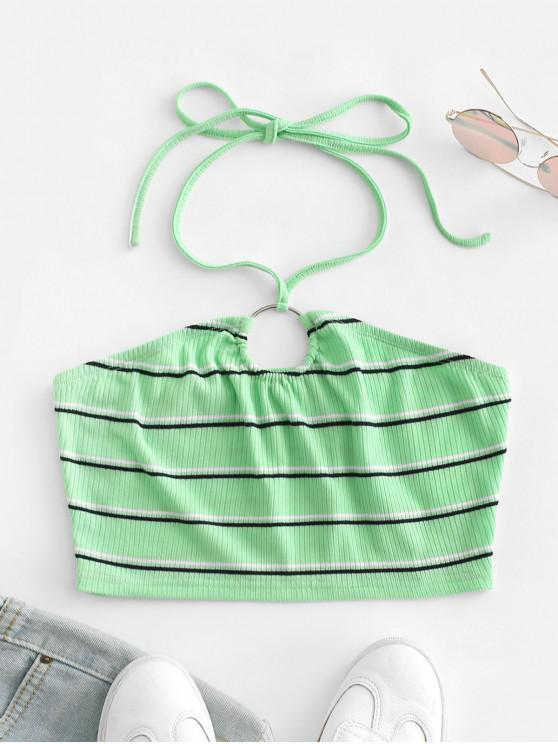 hot ZAFUL Ribbed Striped Ring Linked Halter Crop Top - ALGAE GREEN XL