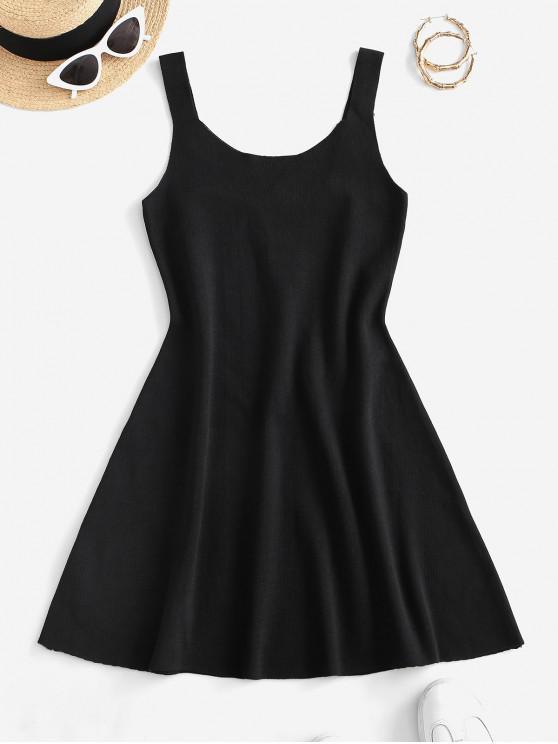 women Sleeveless Plain Knitted Mini Dress - BLACK ONE SIZE