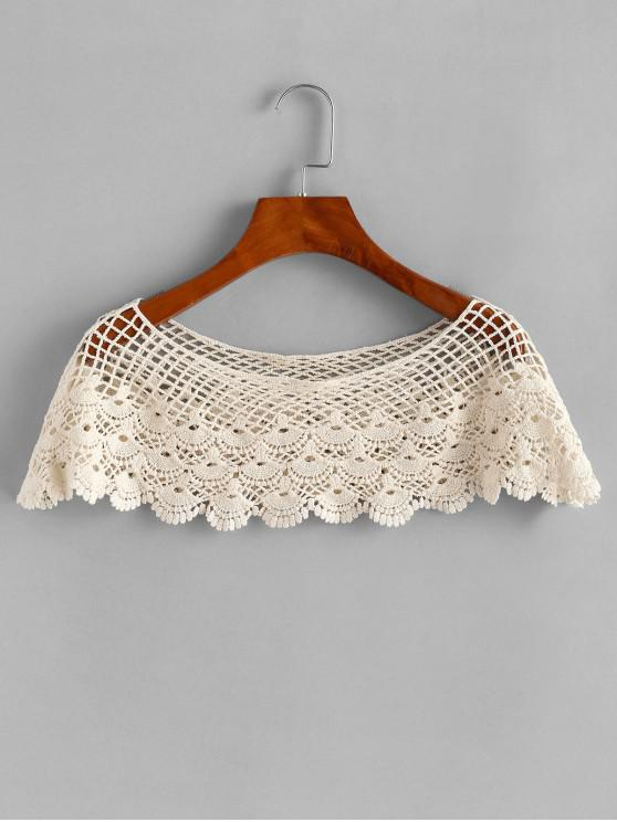 shop Crochet Poncho Top - BEIGE ONE SIZE