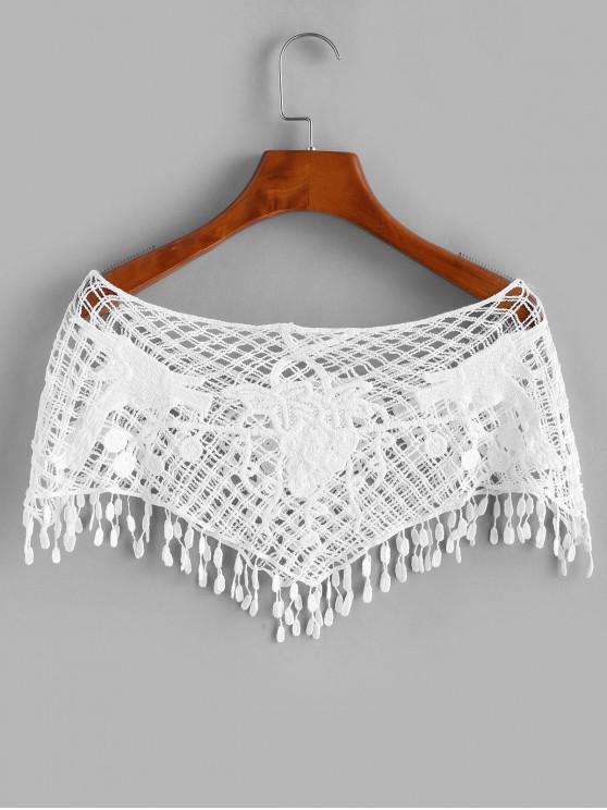 unique Crochet Fringed Openwork Crop Top - WHITE ONE SIZE