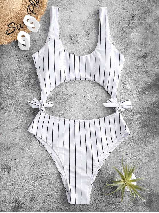 hot ZAFUL Striped Cutout Tie Side One-piece Swimsuit - WHITE L
