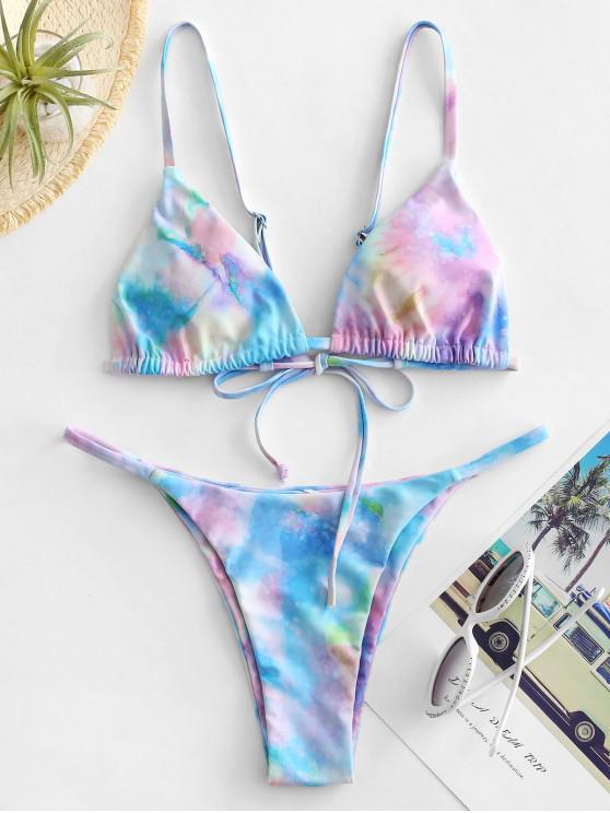 affordable ZAFUL Tie Dye String Low Rise Bikini Swimsuit - MULTI-B L