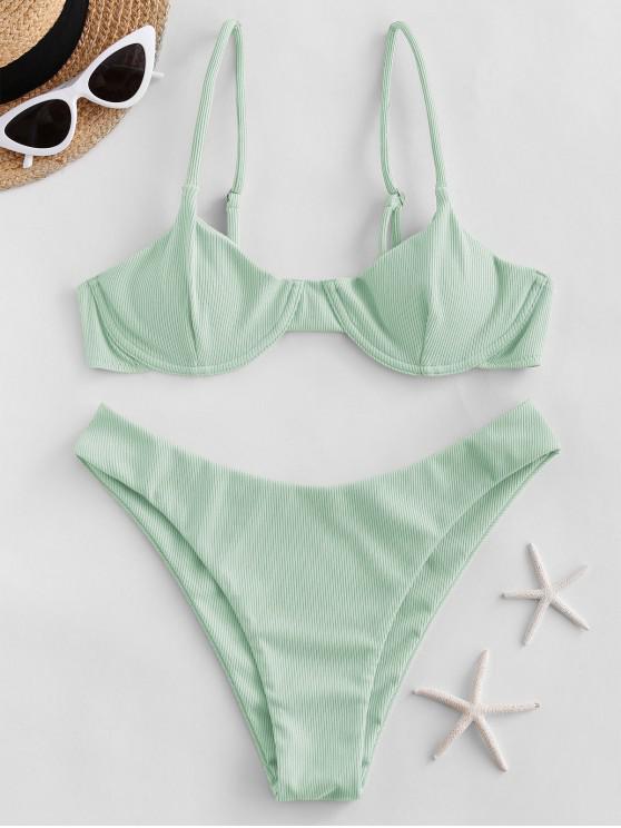 buy ZAFUL Ribbed Underwire Solid Bikini Swimsuit - MINT GREEN L
