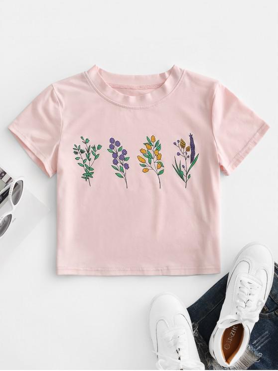 shop ZAFUL Flower Print Crop T-shirt - PIG PINK L