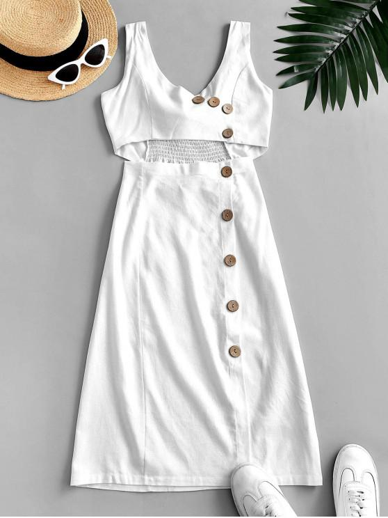 fancy Tie Back Sleeveless Buttoned Cut Out Dress - WHITE L