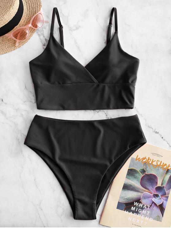 women ZAFUL Surplice High Cut Cami Tankini Swimsuit - BLACK M
