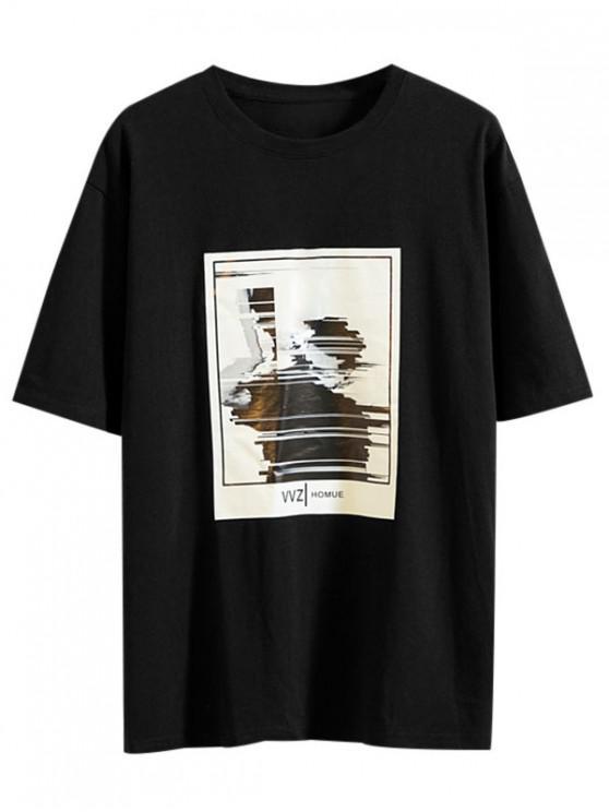 Abstract Character Print Cool T-shirt - أسود L