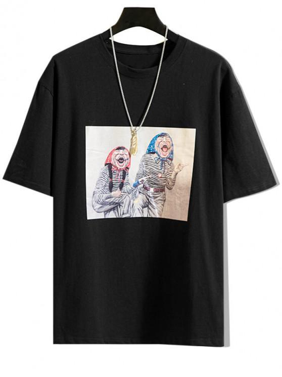 Cartoon Character Print Casual T-shirt - أسود M