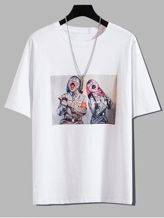 T-shirt Décontracté Caractère Imprimé Dessin Animé - Blanc 3XL