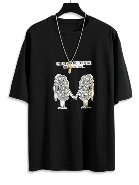 Sketch Graphic Print Short Sleeve T-shirt - أسود M