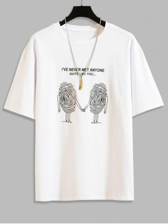 Sketch Graphic Print Short Sleeve T-shirt - أبيض 4XL